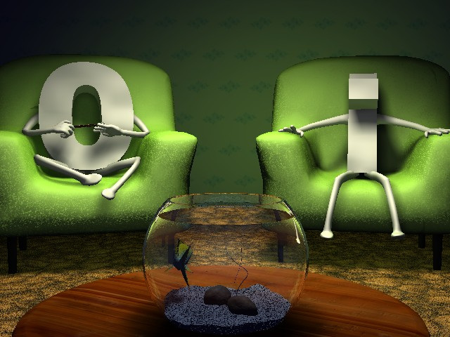 one and zero sit on chairs in a dated living room with a fishbowl in the foreground