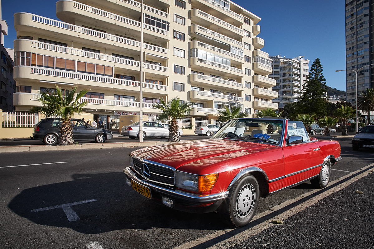 Mercedes convertible in Sea Point, Cape Town