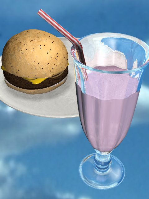 3D model of a milkshake and burger
