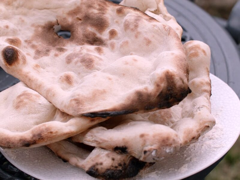 freshly baked naan breads